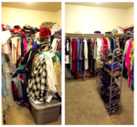 "Before & After of a KonMari'd closet. Before you couldn't walk into this huge closet. After everything was color coded and the owner repeatedly remarked on how ""light"" and ""easy"" the space felt."